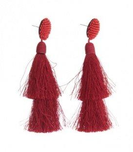 Rode oorbellen met kralen en 2 kwasten