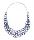 Kobalt blauwe lange halsketting kleine kralen schakels
