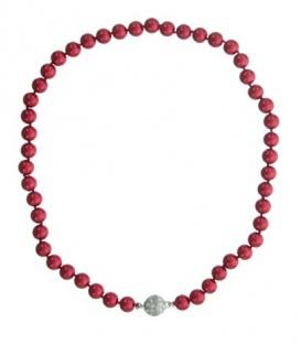 Rode korte kralen parel halsketting met magneetsluiting