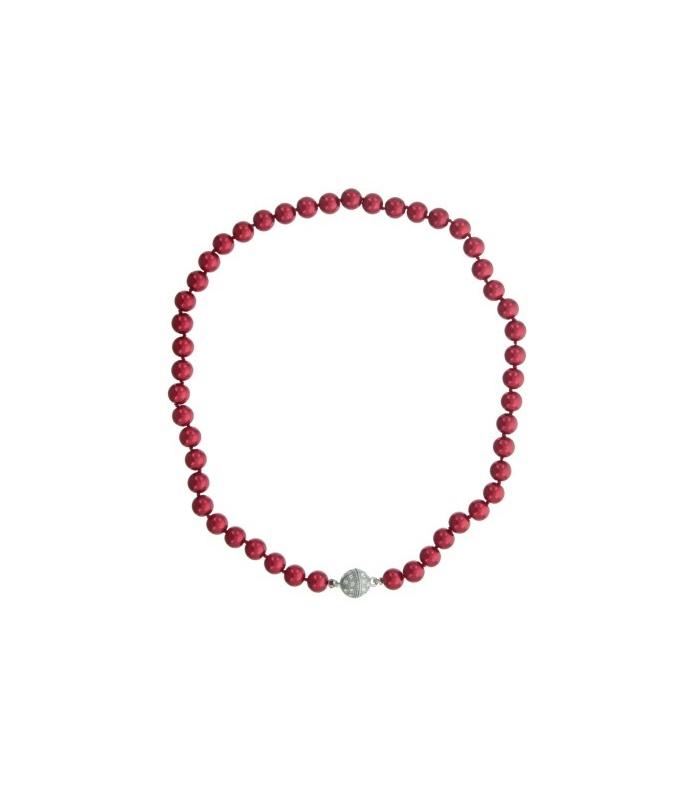 Super Rode korte kralen parel halsketting met magneetsluiting &YK76