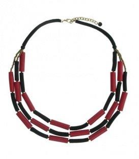 Rood met zwarte lange halsketting van houten en leren elementen