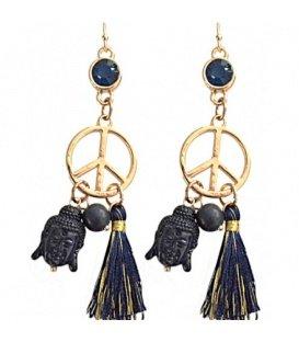 Blauwe oorbellen buddha en peace teken