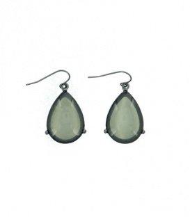 Donker grijze oorbellen met ovale hanger