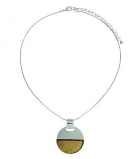 Zilverkleurige korte halsketting met gele ronde hanger