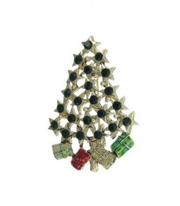 Groene kerstboom broche