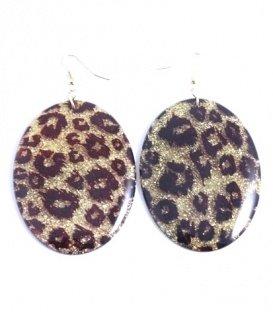 Zwart gekleurde oorbellen met ovale hanger met tijger print en glitters