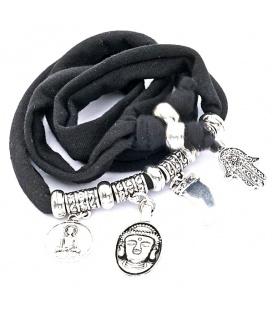 Zwarte wikkelarmband met Buddha