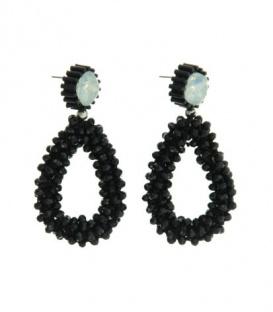 Mooie zwarte oorbellen met steentjes