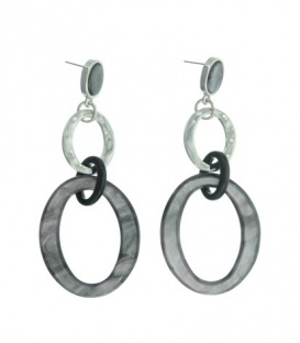 Mooie grijze oorhangers met 3 ovale ringen