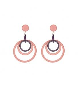Roze oorbellen met ringetjes