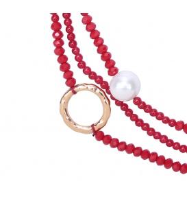 Rode kralen halsketting met parels en iriserende kralen en goudkleurige elementen
