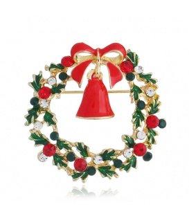 Mooie ronde kerst broche met heldere en rode strass steentjes