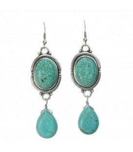 Turquoise oorbellen met mooie stenen