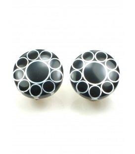 Ronde zwart met zilverkleurige oorclips van Culture Mix