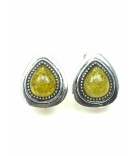 Zeer mooie hartvormige oorclips met groen geel hart