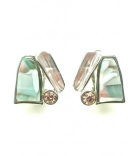 Groen roze driehoekige oorbellen