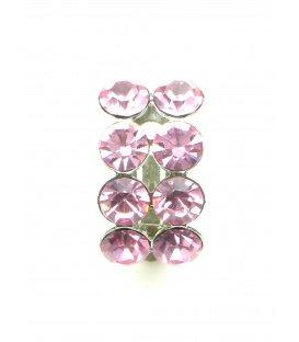 Mooie roze oorclips met roze strass steentjes