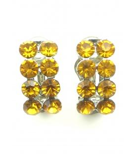 Mooie gele oorclips met gele strass steentjes