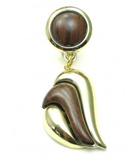 Donker bruine oorclips met goudkleurig accent. Lengte van de clip oorbel is 4 cm.