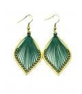 Mooie groene ovale oorbellen met draad