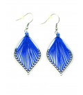 Mooie blauwe ovale oorbellen met draad