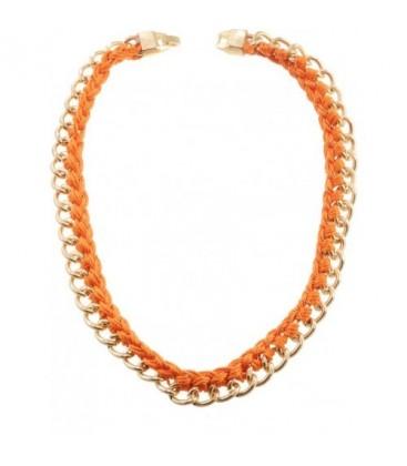 Halsketting met oranje koord en goudkleurige schakels
