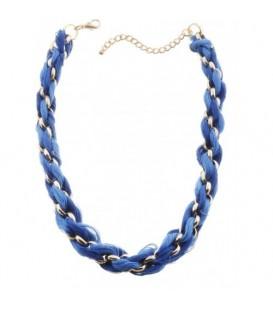 Ketting met blauwe strengen en metalen goudkleurige ringen
