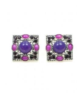 Vierkante oorclips met paarse stras en roze kralen