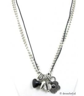 Zilver met zwarte halsketting met verschillende bedels