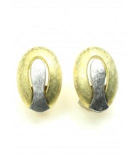 Goudkleurige oorclips met zilverkleurige inleg