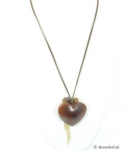 Bruine koordhalsketting met hanger in de vorm van een hart