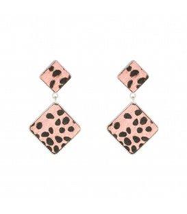 Licht roze oorbellen met print
