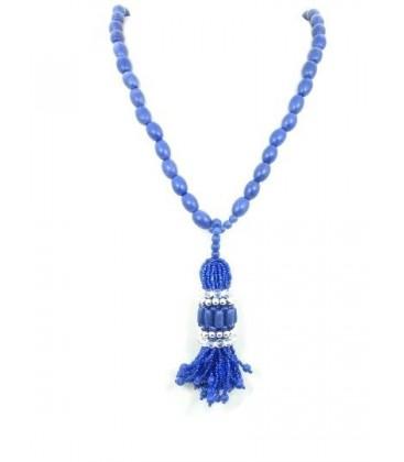 Blauw paarse kralen halsketting met kralen hanger