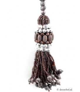 Bruine kralen halsketting met kralen hanger