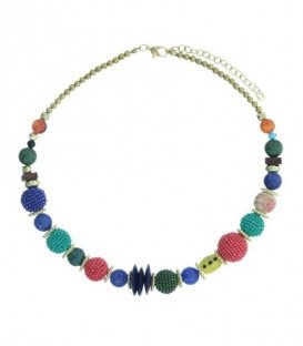 Blauw gekeurde korte halsketting met diverse kralen