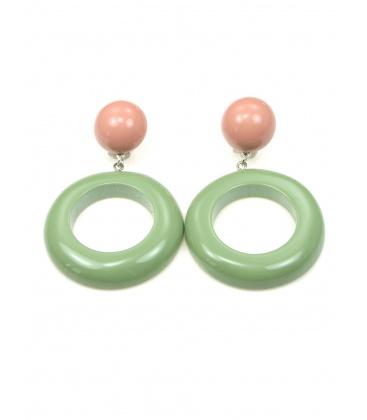 Oud roze met groene oorclips met ronde hanger