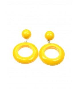 Gele oorclips met ronde hanger
