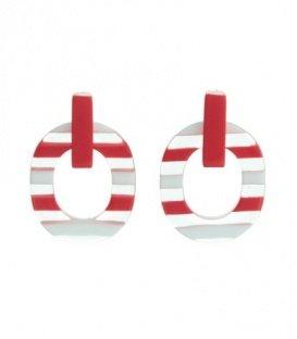 Rode gestreepte oorbellen van A-Zone
