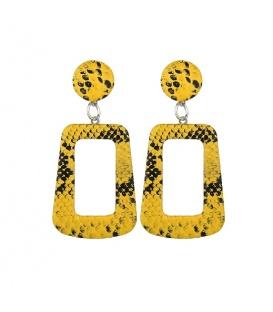 Gele hoekige oorbellen met slangehuid print