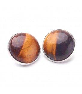Oorclips met bruine natuursteen inleg (Cat Eye)