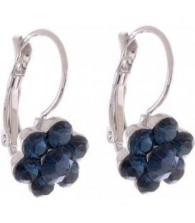 Oorbellen met donker blauwe Swarovski strass steentjes
