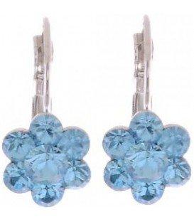 Oorbellen met licht blauwe Swarovski strass steentjes