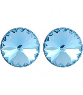 Oorsteker oorbellen met lichtblauwe Swarovski steen (12 mm)