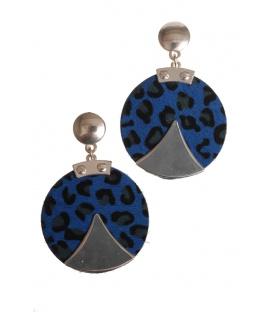 Mooie blauwe ronde oorbellen met zilverkleurige opleg