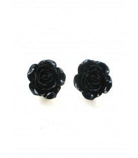 Zwarte oorclips in de vorm van een roosje