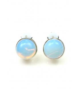 Oorclips met opaal blauwe inleg