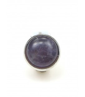 Oorclips met paarse natuursteen (amathist) inleg