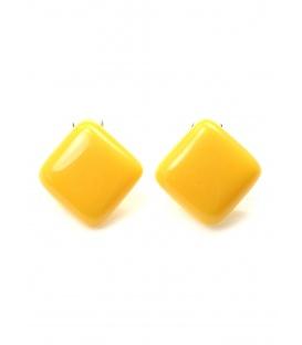 Gele vierkante kunststof oorclips