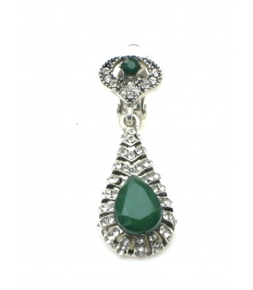 Zilverkleurige oorclips met groene facet kraal en heldere strass steentjes