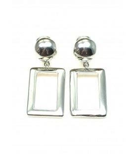 Zilverkleurige oorclips met vierkante metalen hanger